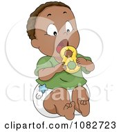 Clipart Black Baby Boy Chewing On A Teether Royalty Free Vector Illustration