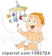 Clipart Baby Playing With A Mobile Toy Royalty Free Vector Illustration