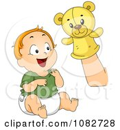 Clipart Baby Boy Laughing At A Hand Puppet Royalty Free Vector Illustration by BNP Design Studio
