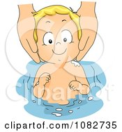 Clipart Hands Washing A Babys Hair Royalty Free Vector Illustration