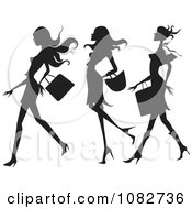 Clipart Trio Of Silhouetted Fashionable Ladies Shopping Royalty Free Vector Illustration