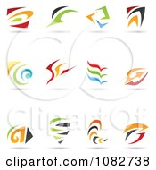 Clipart Abstract Spiral And Swoosh Logos Royalty Free Vector Illustration