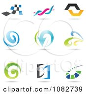 Clipart Abstract Spiral And Wave Logos Royalty Free Vector Illustration by cidepix