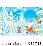 Clipart Airbrushed Owl Dog And Santa In The Winter Woods Royalty Free Illustration by Alex Bannykh