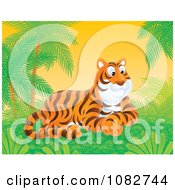Clipart Tiger Resting In A Tropical Landscape Royalty Free Illustration by Alex Bannykh