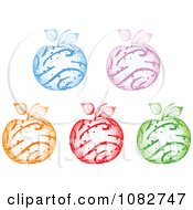 Clipart Colorful Sparkly Swirl Apples Royalty Free Vector Illustration by Andrei Marincas