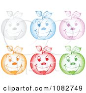 Clipart Colorful Sparkly Happy Apples Royalty Free Vector Illustration by Andrei Marincas