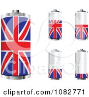 Clipart 3d UK Flag Batteries At Different Charge Levels Royalty Free Vector Illustration