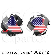 Clipart Triangle And Round American Flag Recycle Icons Royalty Free Vector Illustration by Andrei Marincas