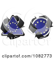 Clipart Triangle And Round European Flag Recycle Icons Royalty Free Vector Illustration by Andrei Marincas