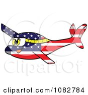 Clipart Happy American Flag Plane Royalty Free Vector Illustration