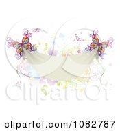 Clipart Colorful Butterflies With A Blank Banner And Splatters Royalty Free Vector Illustration