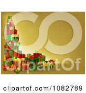 Clipart 3d Tower Of Christmas Gifts On A Gold Background Royalty Free Vector Illustration