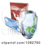 Clipart 3d Security Shield Credit Card And Passport Royalty Free Vector Illustration by AtStockIllustration