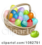Clipart 3d Basket And Colorful Easter Eggs Royalty Free Vector Illustration