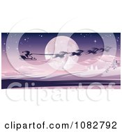Clipart Santas Magic Sleigh And Reindeer Flying Over A Winter Landscape And Full Moon Royalty Free Vector Illustration