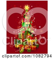 Clipart 3d Christmas Tree Gift Tower With Magical Lights Over Red Royalty Free Vector Illustration