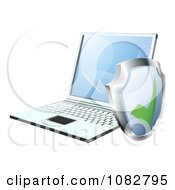 Clipart 3d Security Shield By A Laptop Computer Royalty Free Vector Illustration