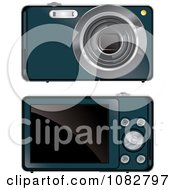 Teal Digital Camera Shown Front And Back Sides