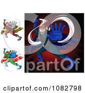 Clipart Fighting Super Hero Men Royalty Free Vector Illustration