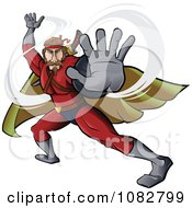 Clipart Fighting Super Hero Man In A Red Suit Royalty Free Vector Illustration