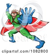Clipart Fighting Super Hero Man In A Green Suit Royalty Free Vector Illustration