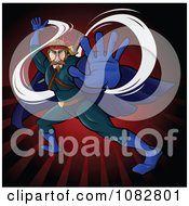Clipart Fighting Super Hero Man In A Blue Suit Over Red Rays Royalty Free Vector Illustration