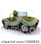 3d Tortoise Driving A Convertible Car