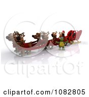 3d Santa Tortoise With A Sleigh And Reindeer