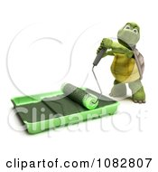 Clipart 3d Tortoise Using A Paint Roller And Pan Royalty Free CGI Illustration