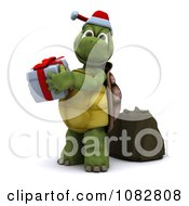 3d Christmas Tortoise Holding Up A Gift