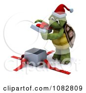 Clipart 3d Christmas Tortoise Opening A Gift Royalty Free CGI Illustration