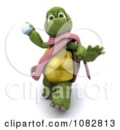 Clipart 3d Tortoise Throwing Snowballs Royalty Free CGI Illustration