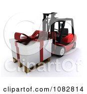 Clipart 3d Forklift Moving A Huge Christmas Gift Royalty Free CGI Illustration by KJ Pargeter