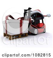 Clipart 3d Forklift Moving A Huge Christmas Present Royalty Free CGI Illustration