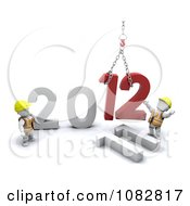 Clipart 3d White Characters Constructing 2012 Royalty Free CGI Illustration