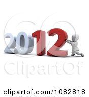 Clipart 3d White Character Pushing Together 2012 Royalty Free CGI Illustration