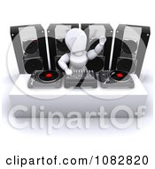 Clipart 3d White Character Dj Waving Royalty Free CGI Illustration