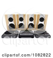 Clipart 3d Turntable And Dj Music Desk Royalty Free CGI Illustration