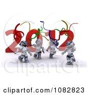 Clipart 3d 2012 New Year Robots Dancing Royalty Free CGI Illustration