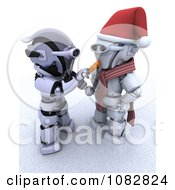 Clipart 3d Robot Making A Robotic Snowman Royalty Free CGI Illustration