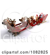 Clipart 3d Santa Robot With Reindeer And A Sleigh Royalty Free CGI Illustration