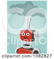 Red Robot Under A Rain Cloud