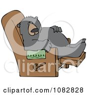 Clipart Lazy Bear Relaxing In A Recliner Chair Royalty Free Vector Illustration