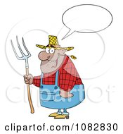 Clipart Talking Hispanic Farmer Man Chewing On Straw And Holding A Rake Royalty Free Vector Illustration