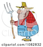 Clipart Chubby Hispanic Farmer Man Chewing On Straw And Holding A Rake Royalty Free Vector Illustration