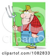 Clipart Plump Farmer Man Chewing On Straw And Holding A Rake Royalty Free Vector Illustration