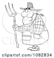Clipart Outlined Farmer Man Chewing On Straw And Holding A Rake Royalty Free Vector Illustration