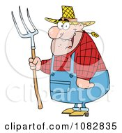 Clipart Chubby Farmer Man Chewing On Straw And Holding A Rake Royalty Free Vector Illustration by Hit Toon