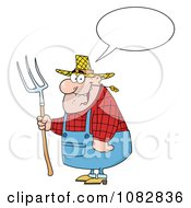 Clipart Chubby Farmer Man Talking Chewing On Straw And Holding A Rake Royalty Free Vector Illustration